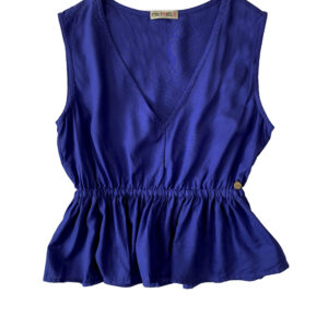 blusa azulona sin mangas fruncida en cintura