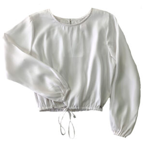blusa fina blanca manga larga ajustable en cintura