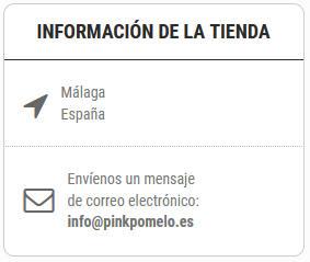 informacion de la tienda con telefono y email
