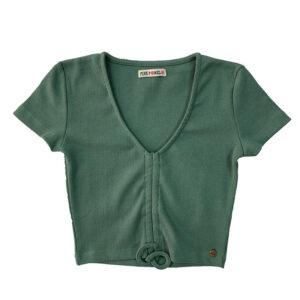 top corto verde nudo